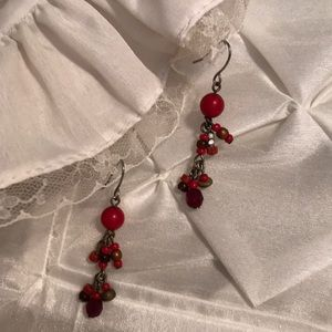 Vintage 90's Chico's Red and Bronze Bead Earrings